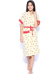 Red Rose Off-White Printed Bath Robe