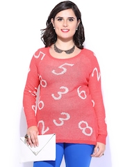 Curvy Women Coral Pink Sweater