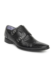 Provogue Men Black Leather Semiformal Shoes