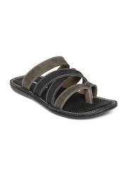 Men Olive Green & Charcoal Grey Sandals Hi Attitude
