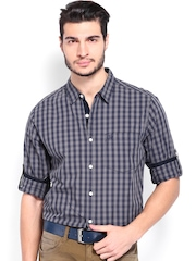 Roadster Men Navy & Grey Checked Casual Shirt