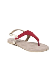 DressBerry Women Red & Gold-Toned Flats