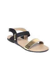 DressBerry Women Black & Gold-Toned Flats
