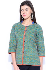 Anouk Rustic Green Printed Jacket