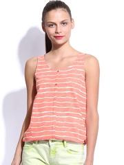 Kook N Keech Women Coral Pink Striped Tank Top