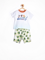 Chicco Boys White & Blue Ombre-Dyed Printed Clothing Set