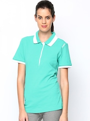 Adidas Women Turquoise Green W SE Taining Polo T-shirt
