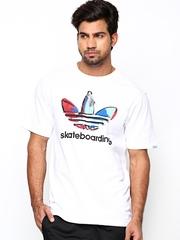 Men White Skate Logo Printed T-shirt Adidas Originals
