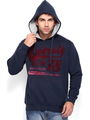 Roadster Men Navy Hooded Sweatshirt
