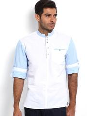 The Indian Garage Co Men White Short Kurta