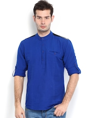 The Indian Garage Co Men Blue Short Kurta