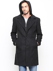 Fort Collins Men Charcoal Grey Coat with Detachable Hood