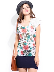 DressBerry Women Off-White Floral Printed Top