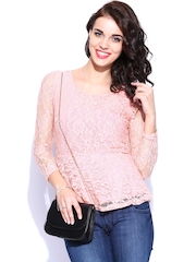 DressBerry Women Pink Lace Top