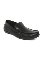 Red Tape Men Black Leather Loafers