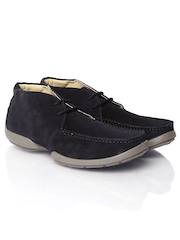 Woodland Men Navy Leather Casual Shoes