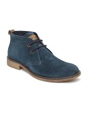 GAS Men Navy Suede Casual Shoes