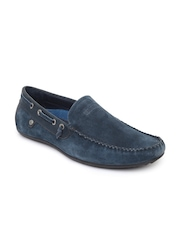 GAS Men Navy Suede Loafers
