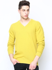 United Colors of Benetton Men Yellow Wool Blend Sweater