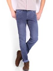 Wrangler Men Blue Skanders Fit Corduroy Jeans