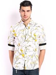Locomotive Men White & Yellow Printed Linen Slim Fit Casual Shirt