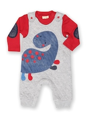 FS Mini Klub Infant Boys Grey & Red Dungarees with T-shirt
