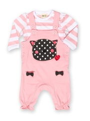 FS Mini Klub Infant Girls Pink & White Dungarees with T-shirt