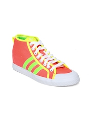 Adidas Originals Women Neon Pink Honey Stripes UP Canvas Shoes
