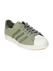 Adidas Originals Men Olive Green Leather Superstar 80S Casual Shoes