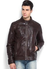 YULE Men Brown Leather Jacket