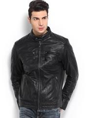YULE Men Black Leather Jacket