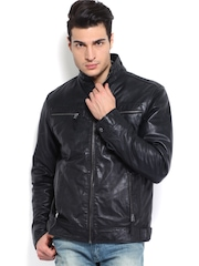 YULE Men Black Relaxed Fit Leather Jacket