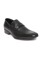 San Frissco Black Leather Semiformal Shoes