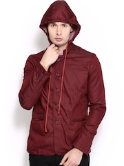 Locomotive Men Maroon Classic Fit Jacket