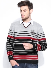Duke Men Grey & Black Striped Wool Blend Sweater