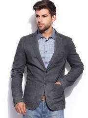 Sisley Men Grey Slim Fit Jacket