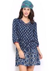 Mirage Women Indigo Blue Printed Tunic