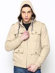 Numero Uno Men Beige Jacket with Detachable Hood