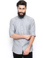 Jack & Jones Men Grey Slim Fit Casual Shirt