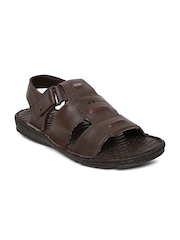 By Bata Men Brown Leather Sandals Dr. Scholl