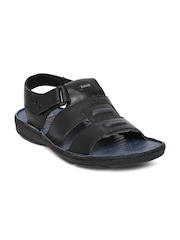 By Bata Men Black Leather Sandals Dr. Scholl