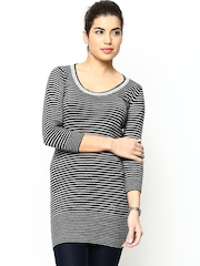 Species Women Black & Light Grey Wool Blend Striped Sweater
