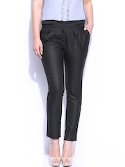 Mast & Harbour Women Charcoal Grey Camilla Formal Trousers