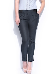 Mast & Harbour Women Grey & Black Camilla Formal Trousers