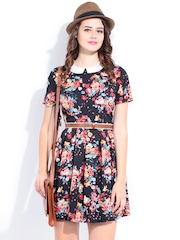 DressBerry Black Floral Printed Flare Berry Dress