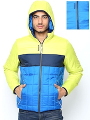 Reebok Men Blue Padded Hooded Reversible Jacket