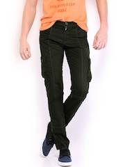 Sports 52 Men Olive Green Convertible Cargo Trousers
