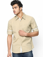 FREECULTR Men Beige Casual Shirt with Detachable Collar