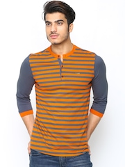 Men Orange & Grey Striped Henley T-Shirt FREECULTR
