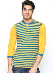 Men Teal Blue & Yellow Striped Henley T-Shirt FREECULTR